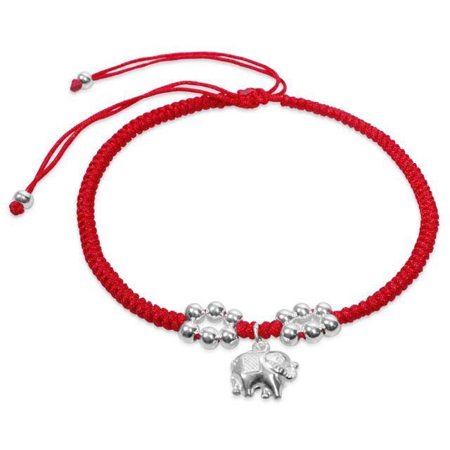 Corda vermelha tornozeleira feminino 925 tornozeleiras de prata pura moda sino tornozeleiras presente de aniversário sorte Ruyi