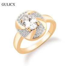 GULICX Luxury 2016 New Fashion Ring for Women  Gold Platinum Plated Ring Large Oval Crystal Cubic Zirconia Wedding Ring R238