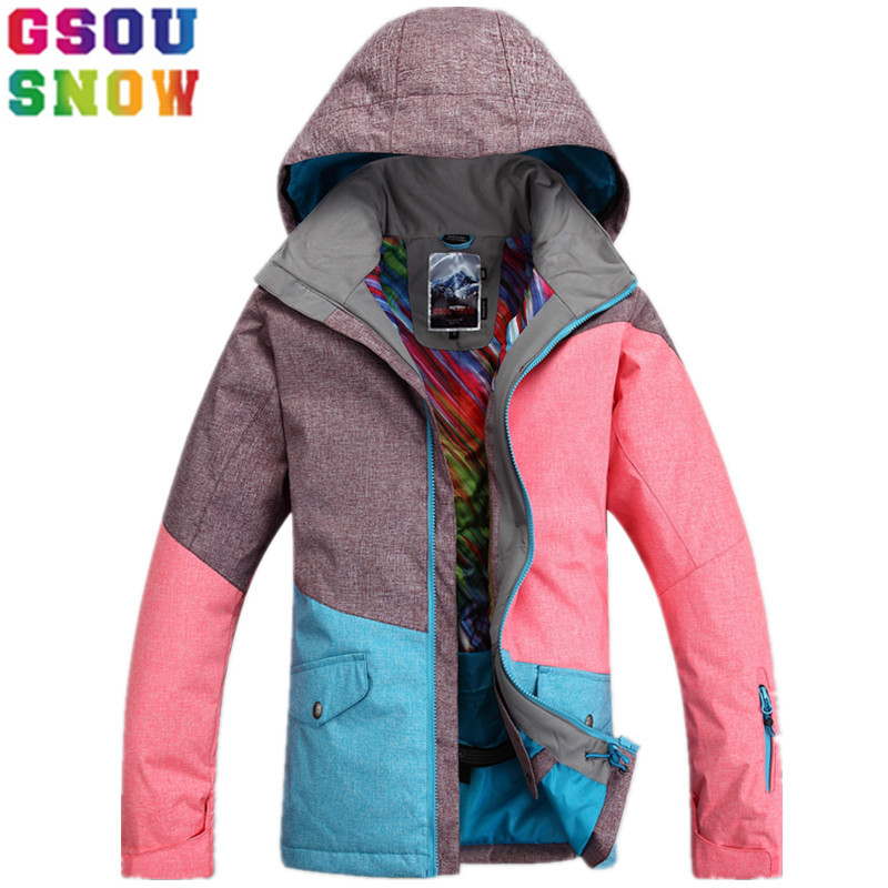 GSOU SNOW Brand Ski Jacket Women Winter Snowboard Jacket Waterproof 10K Breathable 10K Female Skiing Snowboarding Sport Clothing hot sale women ladies snowboard jacket waterproof breathable ski jacket female winter snow coat sport motorcycle anorak clothes