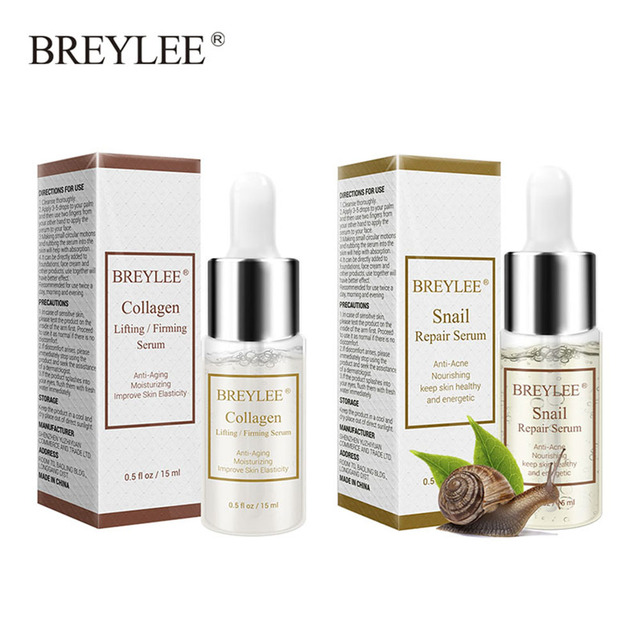 BREYLEE 2 PCS Cuidados Com A Pele Soro Caracol + Colágeno Reparação Soro Levantamento Endurecimento Essência Ácido Hialurônico Hidratante Anti-Envelhecimento rosto