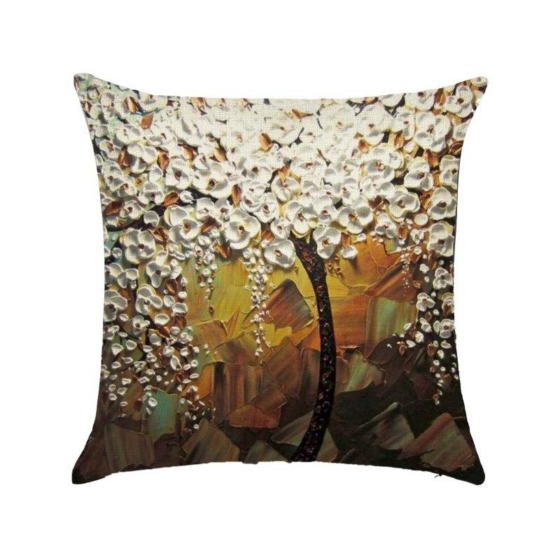 New Cotton Linen Flower Pillow Case Waist Back Throw Cushion Cover Home Sofa Decor