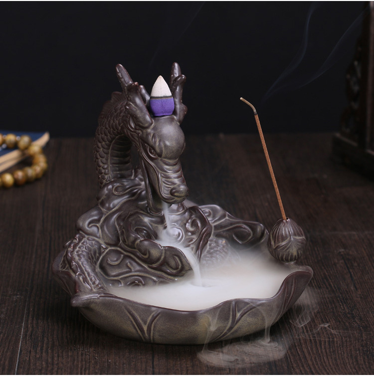 With Incense Cones Ceramic Gold Dragon Incense Burner Smoke Backflow Like Water Streaming Down Art Craft Incense Cone Furnace