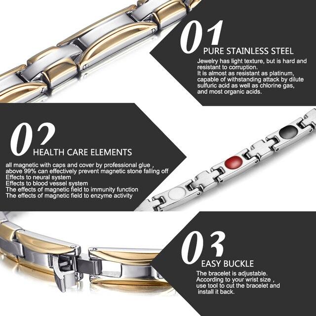 Купить женский магнитный браслет welmag из нержавеющей стали золотого