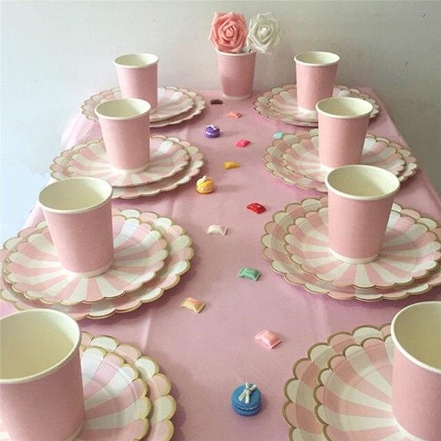 Online Shop Gilding High-end Disposable Tableware Set Pink Striped ...
