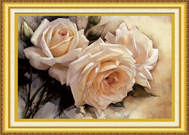 3d белая роза цветок вышивка крестом комплект китайский стиль предварительно печатных 11ct шелковая нить холст вышивка diy ручной работы рукоделие qf