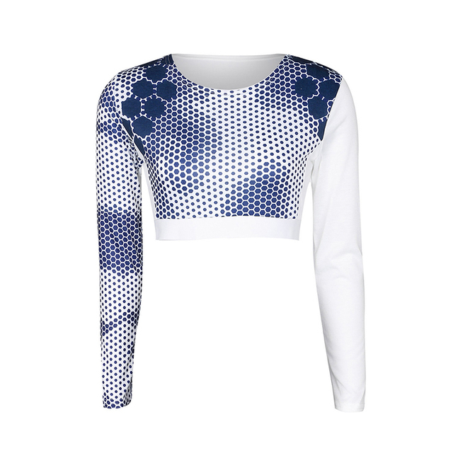 8de993090a29 Women Fitness Sport Yoga Running Crop Tops Blouse Tee T Shirt Dot Printing  Tracksuit Workout Breathable