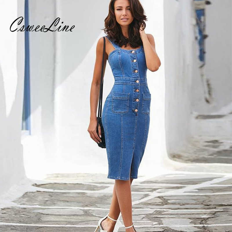 b61a10cc16b sexy casual denim dress midi summer outfits for women sundress sleeveless  strap button pocket jeans dress