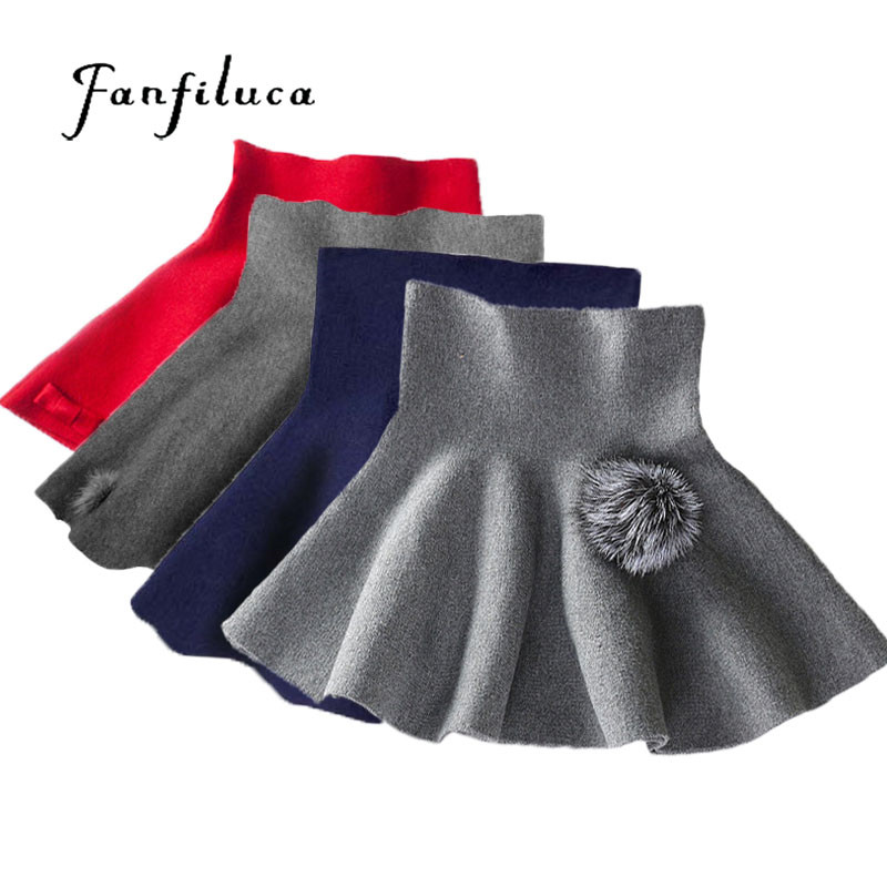 Fanfiluca 24M-6Y Fashion Girl Clothes Solid Color Tutu Kids Skirt Knitted Tall Waist Skirt School For Girl Winter Tutu Skirts