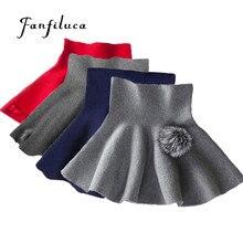 e46fc21b353 Fanfiluca 24M-6Y mode fille vêtements couleur unie Tutu enfants jupe  tricoté taille haute jupe école pour fille hiver Tutu jupes