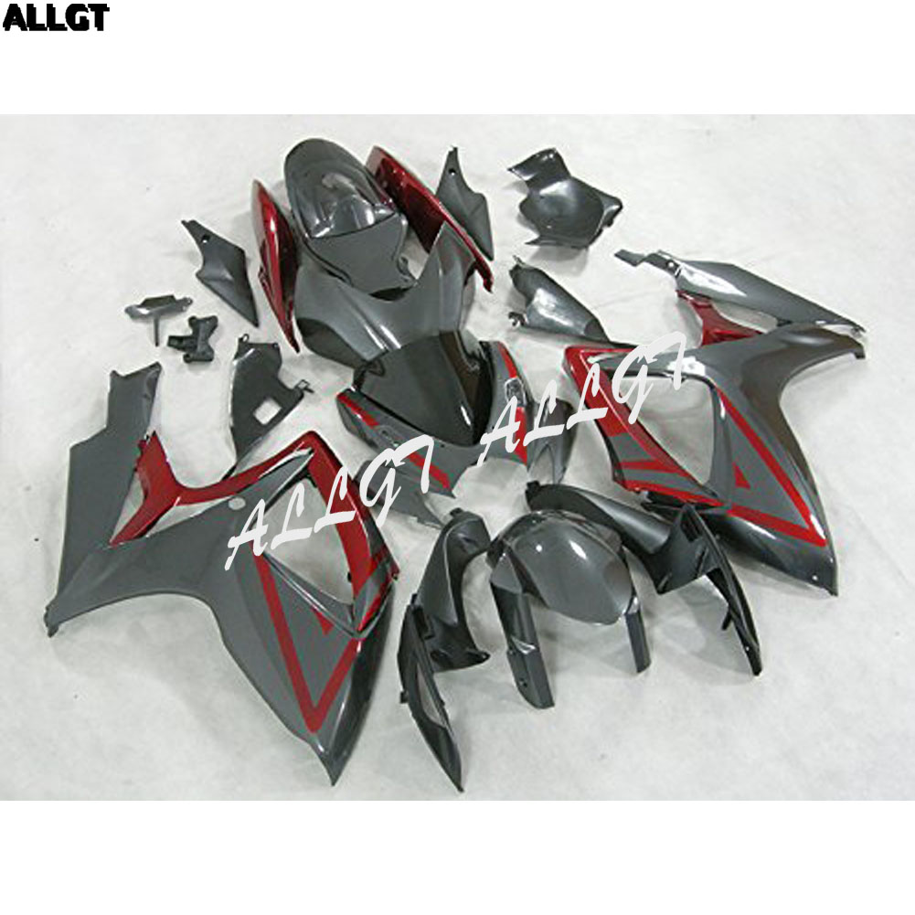 Injection Mold - Red Grey Plastic <font><b>Fairing</b></font> Kits Fit for Suzuki GSX-R750 GSX-R600 K6 <font><b>2006</b></font> 2007 <font><b>GSXR</b></font> <font><b>600</b></font> 750 K6 06 07 image