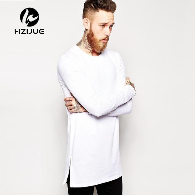 82e56bf2ae34 Free Shipping Mens long t shirt Streetwear Hip Hop Black t-shirt 2018  Longline Extra Long tee shirt for male Zipper Tops tshirt