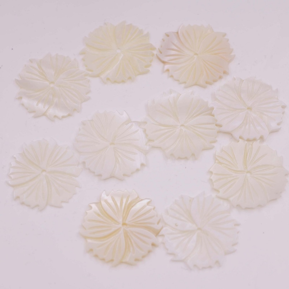 Купить с кэшбэком Natural White Mother of Pearl 27mm Flower Shell Jewelry Making Have hole