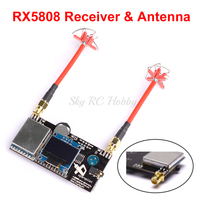 RX5808 Pro 5.8G 40CH Diversity FPV Receiver with OLED Display / 4 Leaf Clover AV Transmission RHCP Antenna For Aomway RC Quad