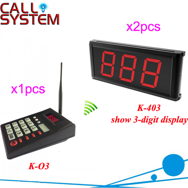 Fast Food Restaurant Queue waiting call system 2 number screen with 1 keyboard show 001-999 restaurant kitchen call system k 999 302 with 1 pcs keypad and 1 pcs display showing 2 digit number