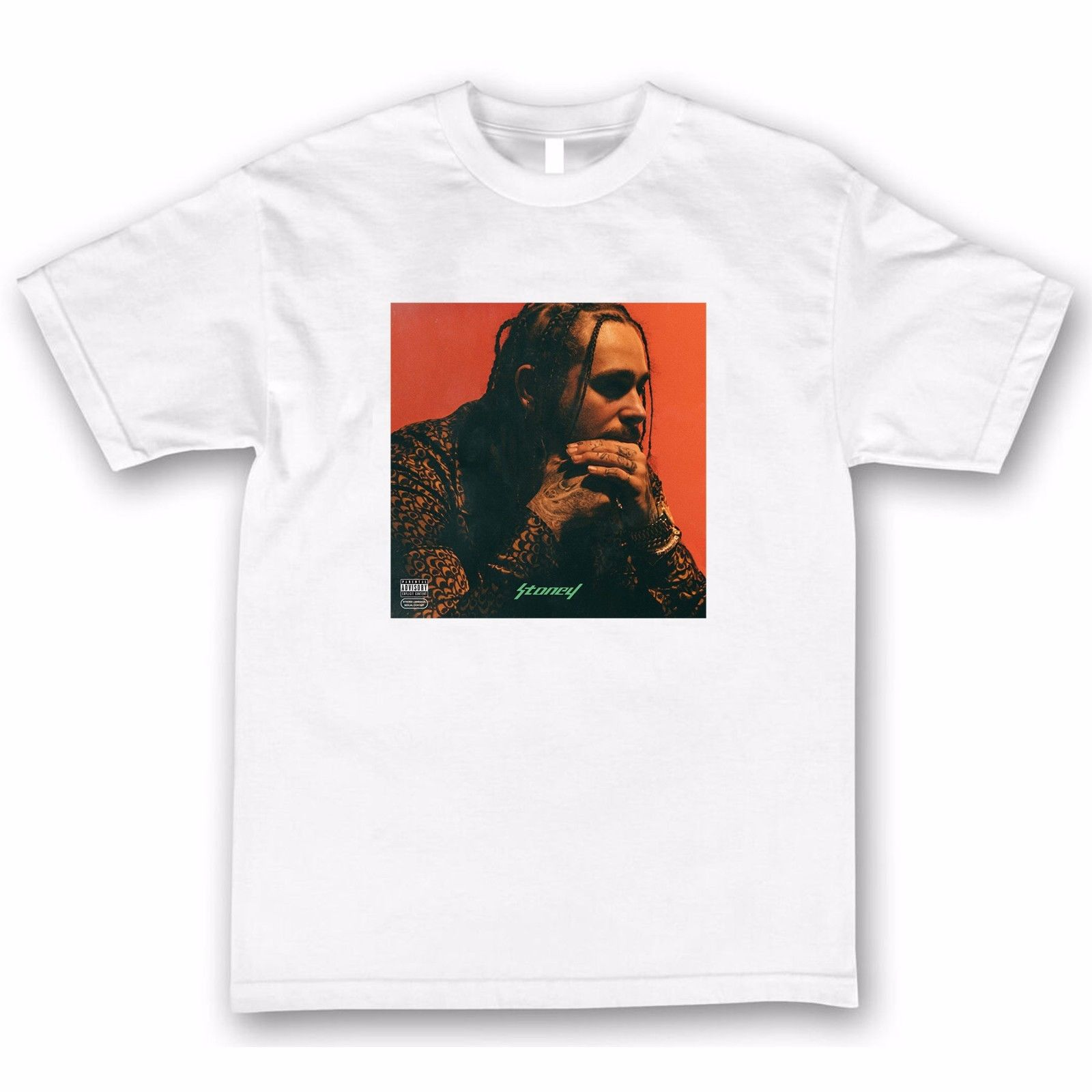 Post Malone Stoney T Shirt Tee Shirts 2017 New 100% Cotton T-Shirts Men Fashion Summer Paried Top Tee Plus Size Kawaii