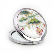 1pc Chinese Ethnic Style Ceramics Decal Lotus Flower Folding Cosmetic Makeup Compact Mirror 3D Stereo Double Sided Free Shipping