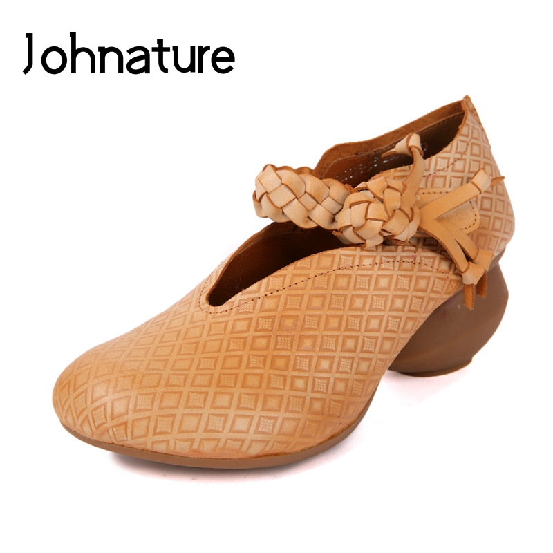 Johnature 2019 Spring Autumn New Genuine Leather Round Toe Casual Wedges Hook Loop Retro Fringe Platform