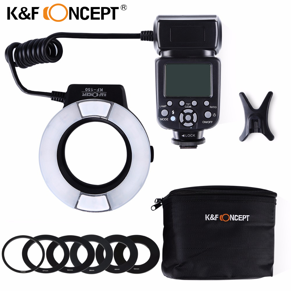 K&F CONCEPT KF-150 Ring Light TTL Auto Manual Flash GN14 LCD Display for Canon Nikon DSLR Camera+ 6pcs Adapter Ring+ Mini Stand
