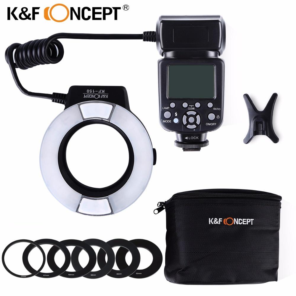 K&F CONCEPT KF-150 Ring Light TTL Auto Manual Flash GN14 LCD Display for Canon Nikon DSLR Camera+ 6pcs Adapter Ring+ Mini Stand стоимость