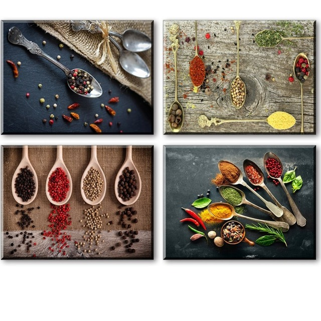 Canvas Prints For Kitchen Wall Decor, 4 Piece Set Spice And Spoon Vintage  Canvas Wall