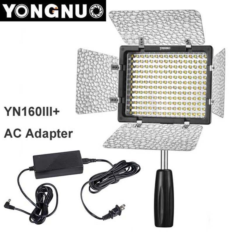 Yongnuo YN160 III 3200-5500K CRI95 160 LED Video Light with AC DC Power Adapter for Canon Nikon Sony DSLR & Camcorder ac power adapter dc 8 4v 1 5 1 7a original for sony camera camcorder ac l200b l25b lcc77