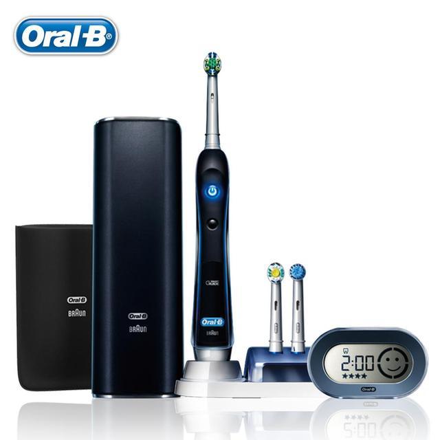 Oral B Электрическая Зубная Щетка для взрослых Черный 7000 GermanyImported Deep Clean Аккумуляторная Электрическая Зубная Щетка 6 Типов Чистый Режим
