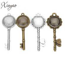 XINYAO 5Pcs Antique Bronze Flower Key Heart Pendant Setting Cabochon Base Blank Bezel Trays Fit 20mm Glass Cabochons Diy Finding(China)