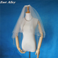 אורך לבן/שנהב אצבע רעלה חתונת שכבה 1 סגנון חדש צעיף של כלה בעבודת יד רעלה ואגלי