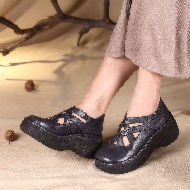 Genuine Leather Women Shoes Square Toe Vintage Women Flats Wedge Heels Loafers Women Shoes qmn women crystal trimmed brushed embossed leather brogue shoes women square toe oxfords shoes woman genuine leather flats 34 43