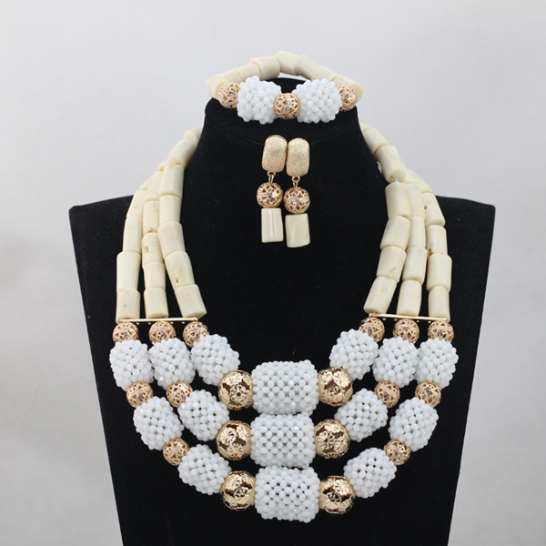 African White Coral Beads Jewelry Set 3 Layers Pendant Statement Necklace Set  Gold White Beads Jewelry Free Shipping CNR662African White Coral Beads Jewelry Set 3 Layers Pendant Statement Necklace Set  Gold White Beads Jewelry Free Shipping CNR662