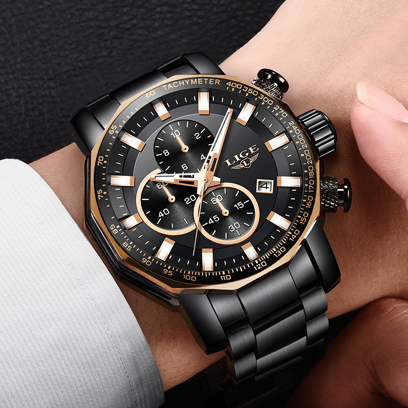 LIGE Men's Watches Top Brand Luxury Fashion Military Sports Watch Men Stainless Steel Quartz Chronograph Clock Relogio Masculino