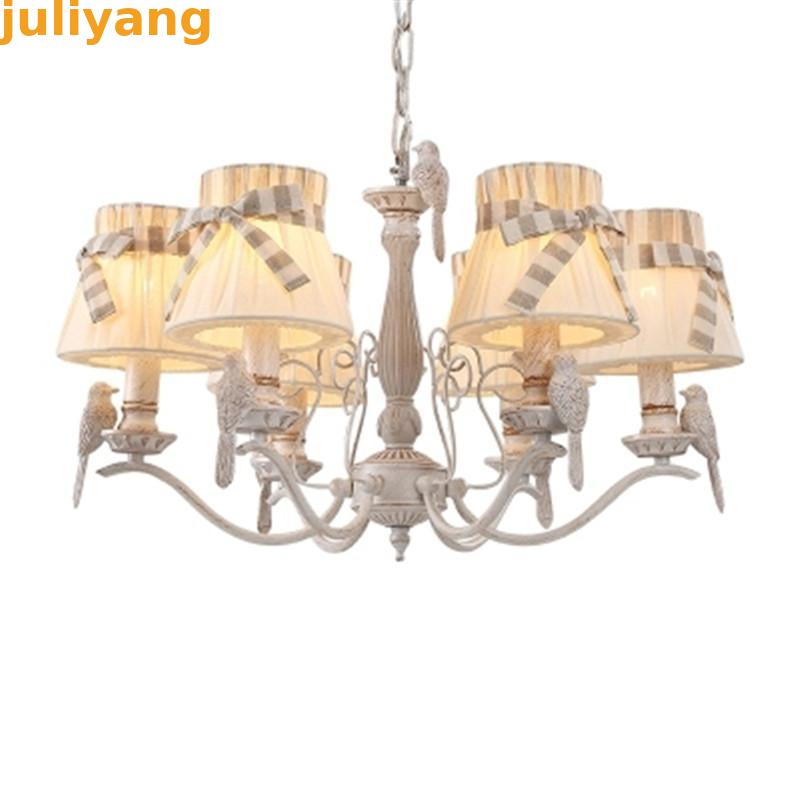 Creative detachable cloth shade 2017 new garden chandelier romantic French bird chandelier