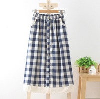 Fashion Plaid Long Skirt With Button Women Cotton Linen Lace Skirts Vintage Casual Women Pleated Maxi