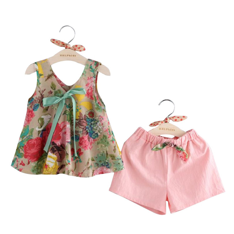 2018 Baby Girl Clothing Sets Vest + Shorts For Girl Summer Style Mouwloze bloemenprint Kinderkleding Peutermeisjes Pak 3-7Ages