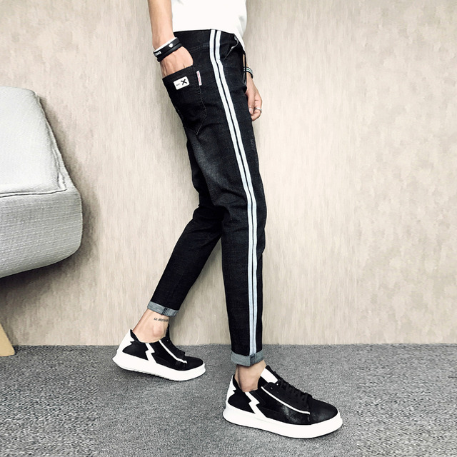 Summer New Jeans Men Fashion 2018 Brand Side Stripe Design Casual