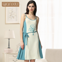 Qianxiu 2019 New style Modal Sleepshirts Women Knitted Knee-length Homedress Sleeveless Patchwork Nightgown 16572