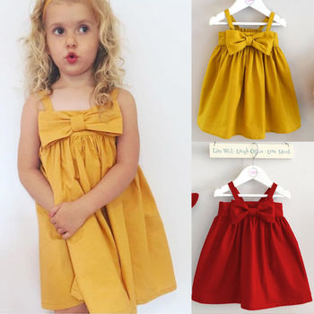 Cute Baby Girls Summer Sundress Bowknot Short Mini Vest Dress Toddler Kids Cotton Casual Dresses Sleeveless Outfit Red&Yellow 1