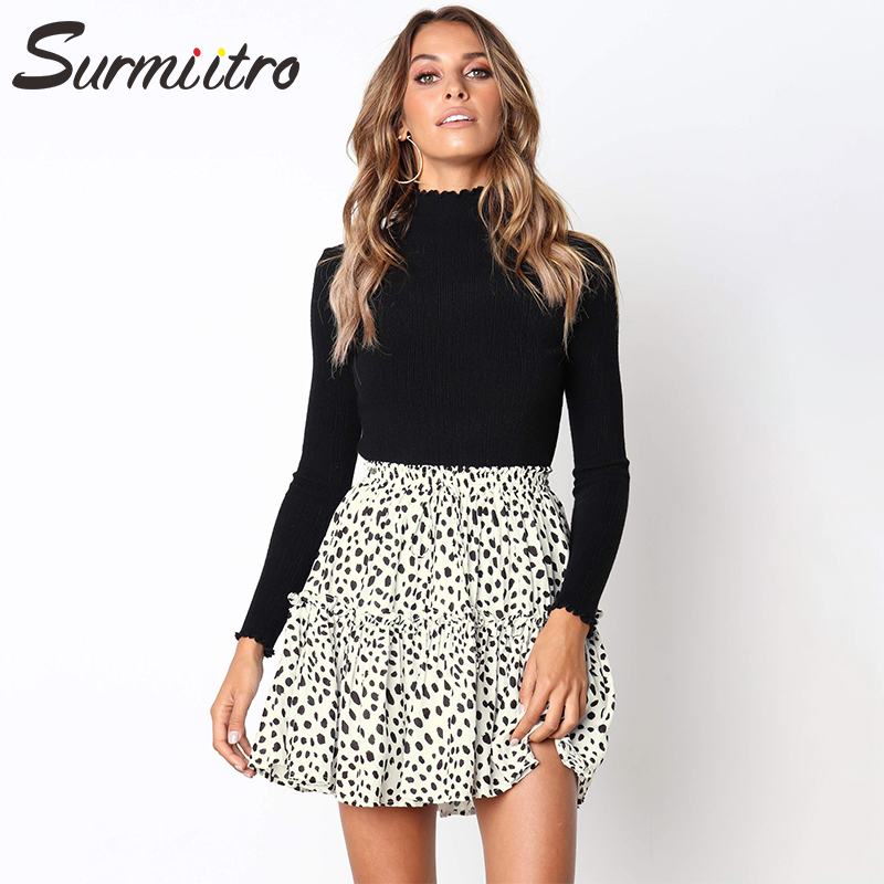 Surmiitro White Leopard Print Skirt Women 2019 Spring Summer Fashion High Waist Mini Short Skirt Female A-line Sun School Skirt