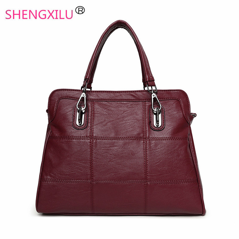 Shengxilu genuine leather women handbags autumn winter shoulder bags ladies big