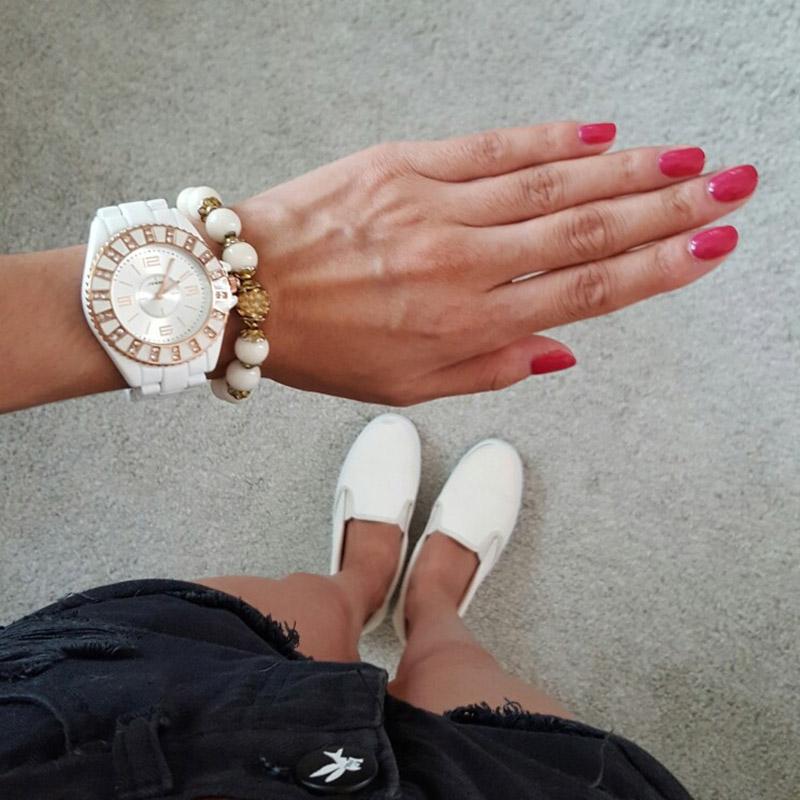 Prix pour SINOBI Imitation Céramique Femmes Montres Argent Surface avec Diamant Top Marque De Luxe de Dames De Mode De Montre Horloges