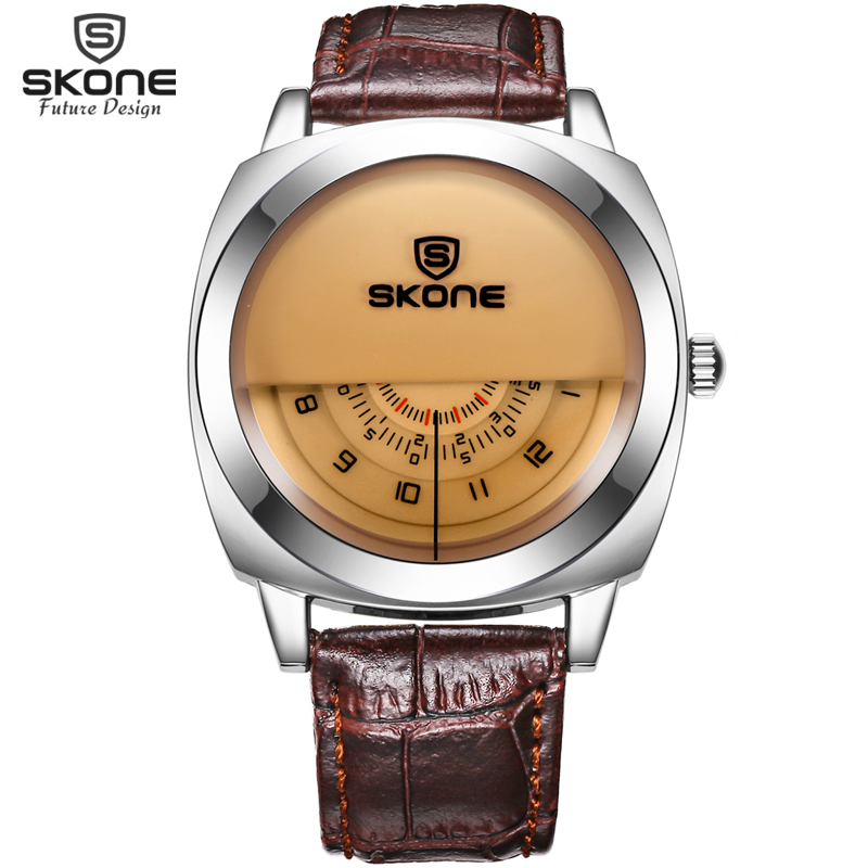 Único Designer De Moda SKONE Marca de Relógios de Luxo Homens Moda Pulseira de Couro Ocasional Relógio de Quartzo Wrtistwatch relogio masculino