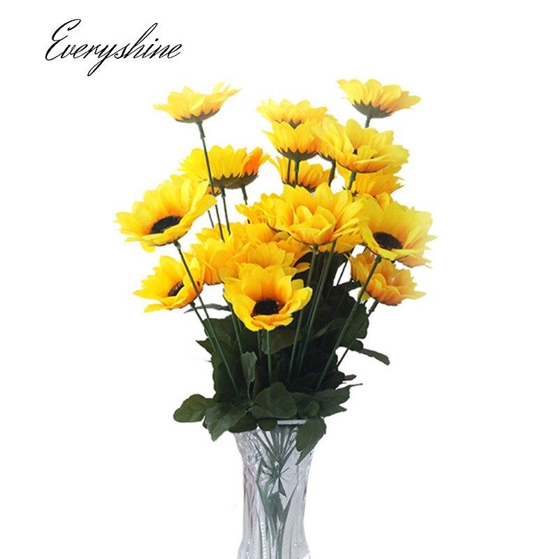 Настоящее сенсорный 1 пучок 7 цветочных головок подсолнечника Шелковый Craft Искусственный поддельные цветок Главная Свадебная вечеринка DIY украшения Букет jk397