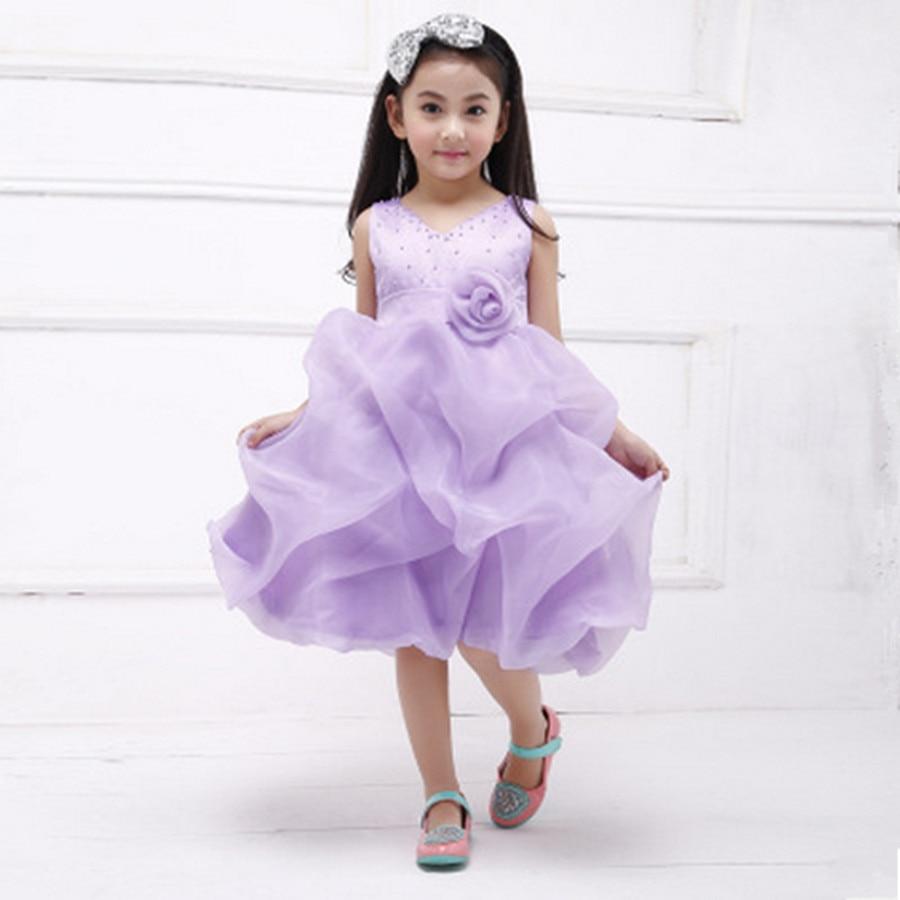 ФОТО 2016 Girls princess Tutu Dress Children wedding party dresses red/purple Flower girl Costumes size 110-150 for 4-12T