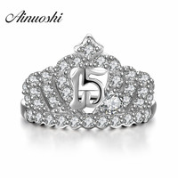 AINUOSHI Princess Ring Dimaond Crown Rings 925 Sterling Silver For Women Wedding Elegant Luxury Party Engagement Ring Jewelry