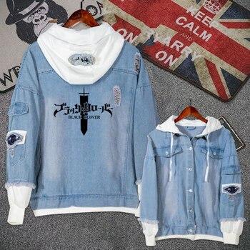 f2d70984b6f Аниме Черный клевер Аста повседневная куртка джинсовая куртка пальто для  подростков мальчиков и девочек осень толстовка с капюшоном Мода п.
