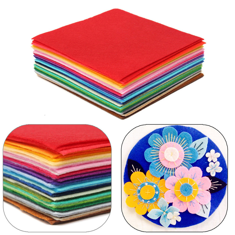 Multi-color Hot Sale 50x40cm Squares Non Woven Solid Felt Fabric Polyester Sheets For DIY Sewing Craft Supplies Scrapbooks