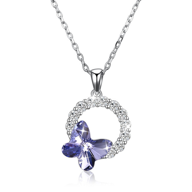 Fine Jewelry Made with Swarovski Crystal Butterfly Real S925 Sterling  Silver Purple Blue Pink Necklace for Women Gift Hot Sell 063bdec6e