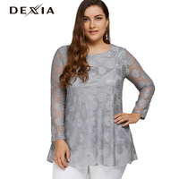 DEXIA Lace T Shirt Women Full Sleeve Round Neck Spring Hollow Out Mesh Top Cotton Plus Size Black Clothing T Shirt Women 8001