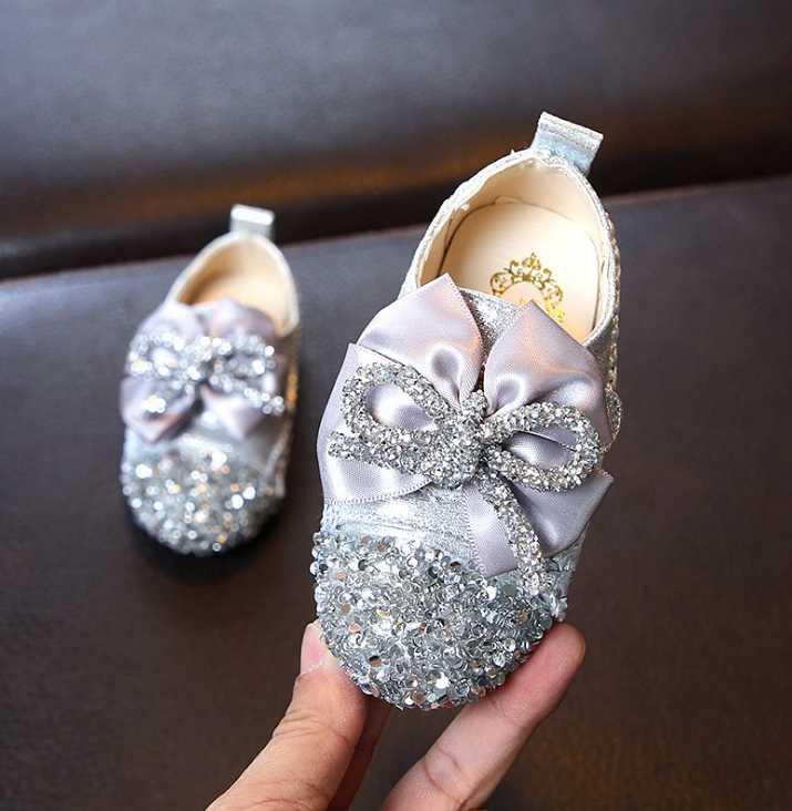 2019 en najaar nieuwe meisjes leren schoenen ronde hoofd baby vierkante schoenen meisjes zachte bodem schoenen bloemen prinses schoenen