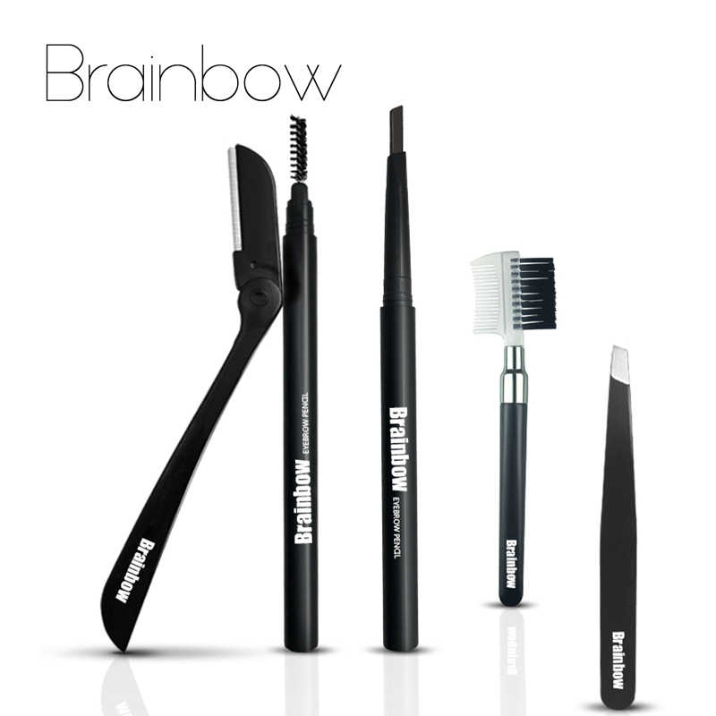 Brainbow 4pcs/bag Eyes Makeup Set&Kit Double Head Eyebrow Pen Cream&Eyebrow Brush & Eyebrow Tweezers & Eyebrow Trimmer 5 Colors